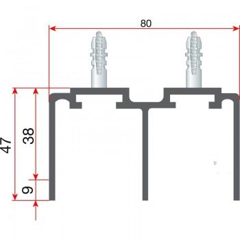 Gornja dvostruka vodilica 80 x 47 x 6000 mm, eloksirani aluminij