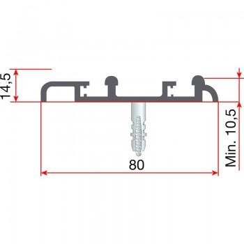 Donja dvostruka vodilica 80 x 10,5 x 6000 mm, eloksirani aluminij
