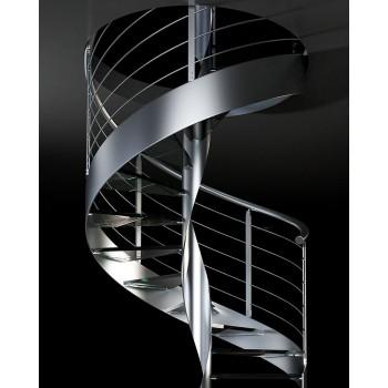 Spiralne stepenice dvije etaže ORTENSIA D INOX GLASS
