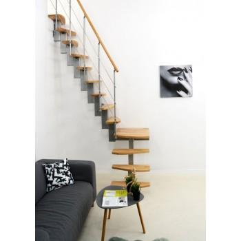 .Montažne stepenice QUATRO opcija 1/4 s navojem srebrna bukva